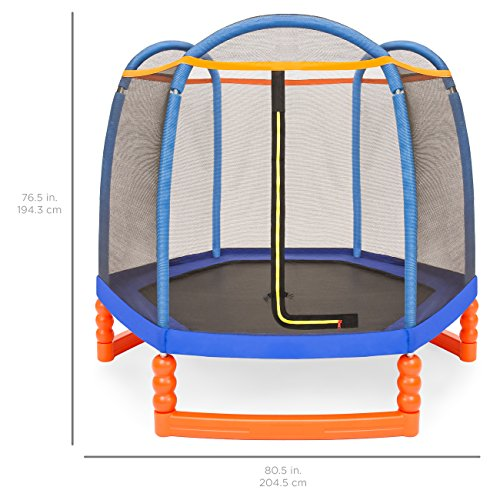 Best Choice Products 7ft Kids Outdoor Round Mini Trampoline w/Enclosure Safety Net Pad, Built-in Zipper - Multicolor by Best Choice Products (Image #5)