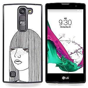 /Skull Market/ - Girl Sketch White Freckles Woman Art For LG Volt 2 / LG G4 Mini (G4c) - Mano cubierta de la caja pintada de encargo de lujo -