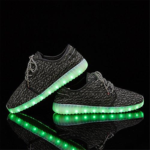 Leovera Man & Kvinna Ledde Skor Usb-laddning Ljus Upp Skor Blinkande Sneakers Black02
