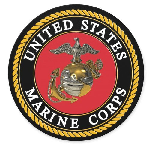United States Marine Corps Logo Round Mousepad Gaming Mouse Pad Rubber Round Mouse Mat(7.87inchx7.87inch)
