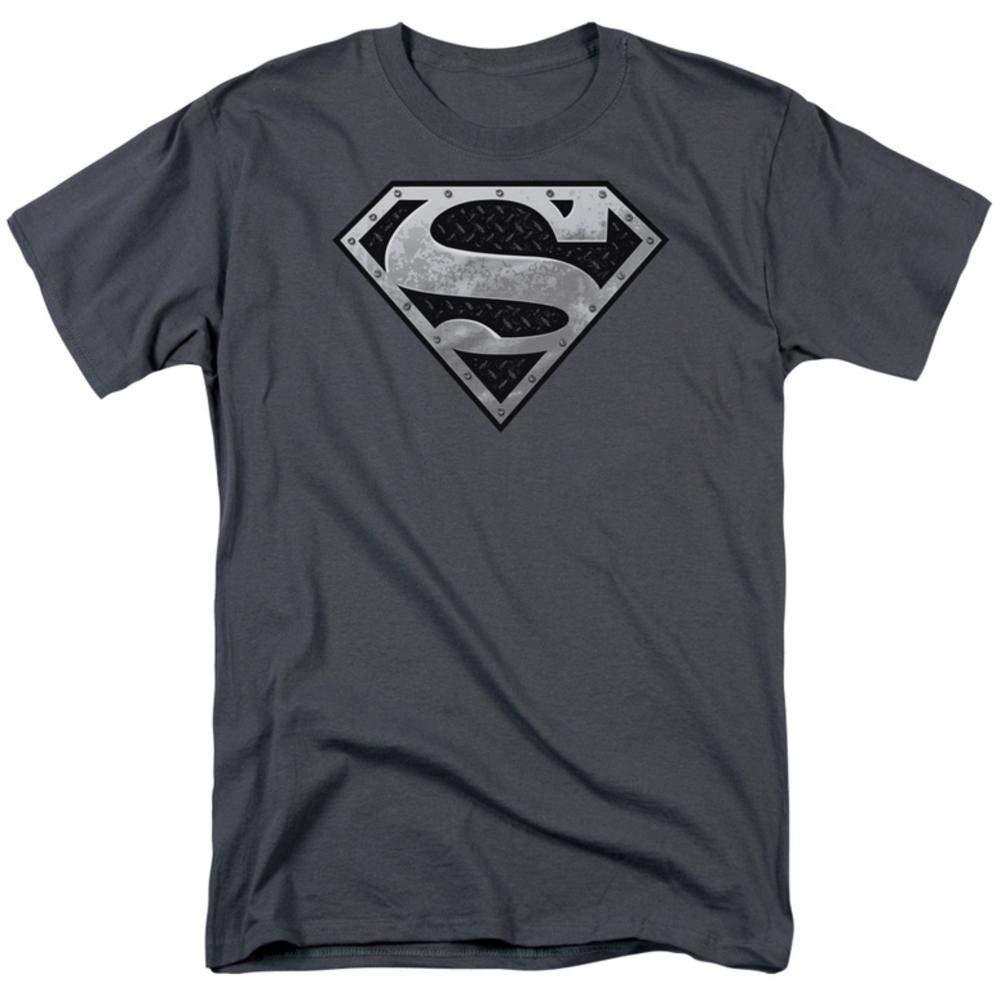 T Shirt Super Metallic Shield Adult Charcoal Gray T 5175