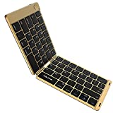 Foldable Bluetooth Keyboard, Jelly Comb B047 Ultra Slim Folding Mini Bluetooth Keyboard Rechargeable PU Leather Pocket Size Keyboard for iPad Android Smartphone Windows-(Black and Gold)
