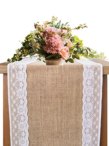OZXCHIXU Burlap Lace Hessian Table Runner Rustic Natural