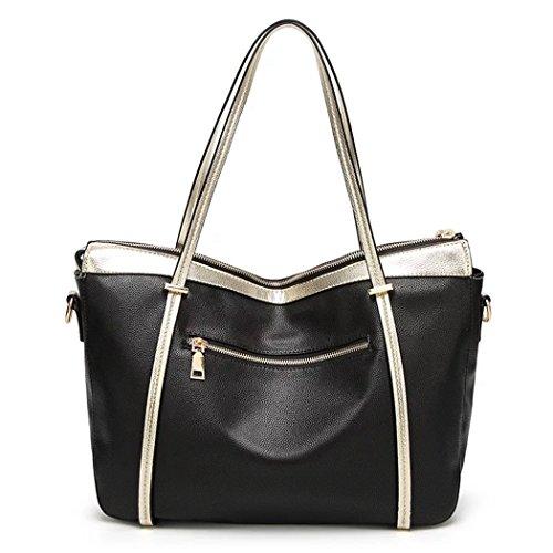 Naerde stile europeo di moda nuovo Messaggero grande borsa signore borsa borsette femminili per le donne (nero)
