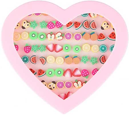 Beauty7 Assorted Cute Fruit Theme Stud Earrings Set 36 Pairs Hypoallergenic Fimo Women Girl Kid Party