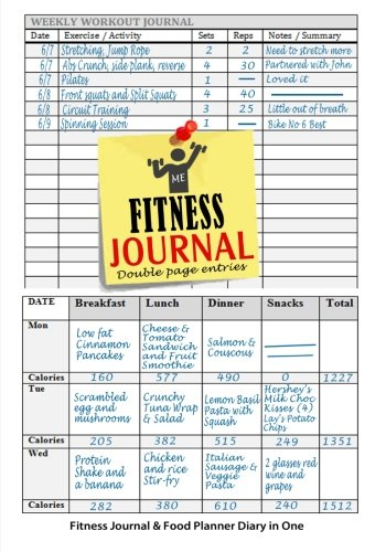 Fitness Journal : Fitness Journal and Food Planner Diary in One: 12...