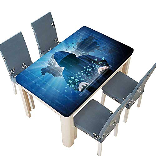 - PINAFORE Table in Washable Polyeste Computer Hacker Silhouette of Hooded Man with Binary Data and Network Security Terms Banquet Wedding Party Restaurant Tablecloth W45 x L84.5 INCH (Elastic Edge)