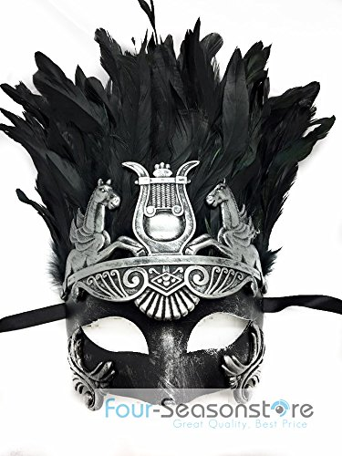 [NEW Mens Mythological Silver/black Hercules with Feather Greek Style Party Mask Mens Mythological Greek Style Party Mask Mardi Gras Majestic Party Halloween Ball Prom by] (Hercules Costume Couple)