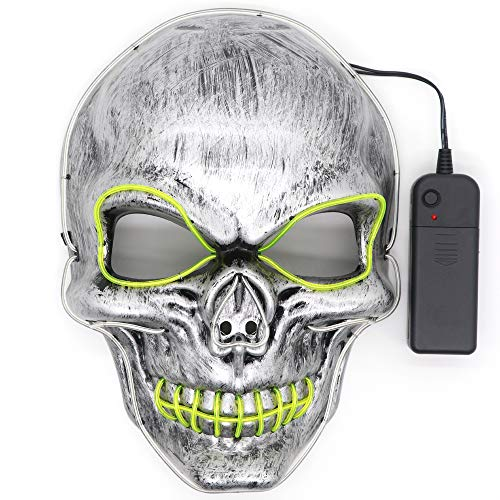 Hasiben Halloween Cosplay LED Light up Skull Mask for Festival Party Halloween Costumes
