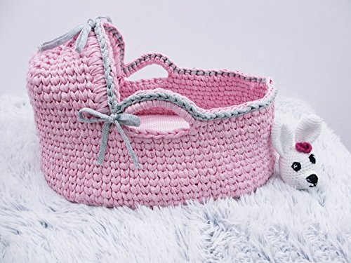 Crochet basket Newborn Moses Basket Baby Bassinet Baby girl bed Baby bassinet Couture moses basket Infant Bed Organic bassinet Baby moses by Yunisiya