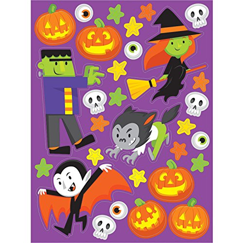 (Party Central Club Pack of 48 Vibrantly Colored Monster Madness Decorative Stickers)