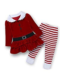 Baby Kids Girls 2Pcs Christmas Princess Dress Tops+ Striped Pants Outfits Set