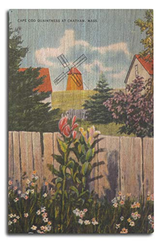 Lantern Press Chatham, Cape Cod, Massachusetts - View of Windmill and Flowers (10x15 Wood Wall Sign, Wall Decor Ready to Hang)