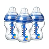 Tommee Tippee Advanced Anti-Colic Decorated Baby Bottles – 9 Ounce, Blue, 3 Count