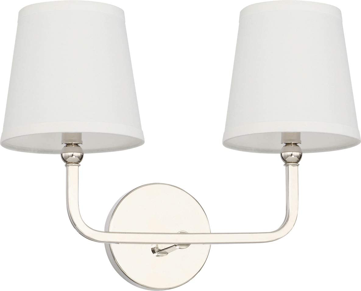 Capital Lighting 119321pn 674 Dawson 2 Light Transitional Bath Vanity Approved For Damp Locations Polished Nickel Finish With White Fabric Stay Straight Shade