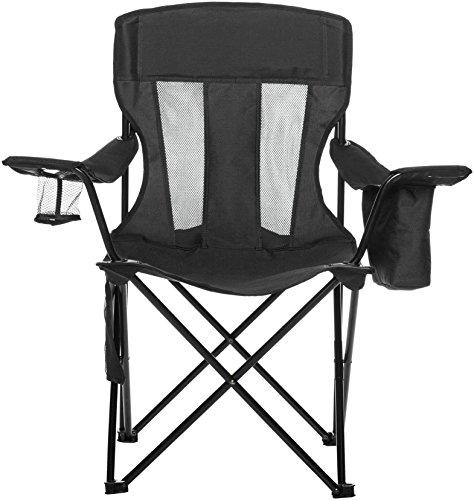AmazonBasics Chaise de camping avec poche isotherme Noir (Maille)