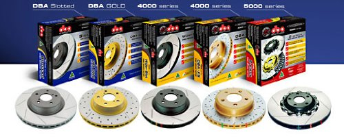 DBA 05-08 Legacy GT Front Slotted 5000 Series 2 Piece Rotors (Pair) Assembled w/ Black Hat