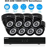 KKmoon CCTV Camera Security 8CH H.264 1080N DVR +8pcs 1500tvl Dome Camera + 8pcs 60ft Cable support Night Vision Android/iOS APP PC r View Motion Detection