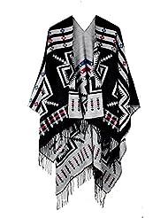 Juruaa Women's Print Tassel Warm Poncho Capes Cardigan