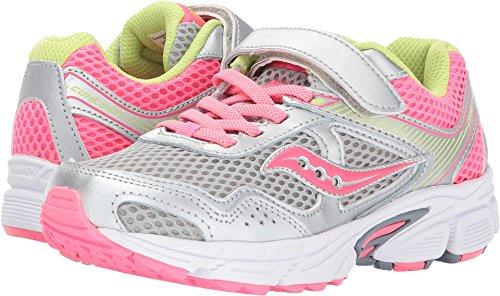 Saucony Cohesion 10 A/C Running Shoe (Little Kid/Big Kid), Grey/Coral, 11 Medium US Little Kid