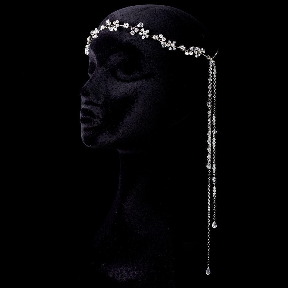 Bohemian Rhodium, Rhinestone & Crystal Forehead Floral Vine Wedding Bridal Headband