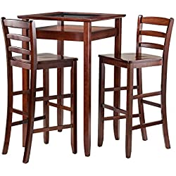 Winsome Wood Halo 3 Piece Pub Table Set with 2 Ladder Back Stools