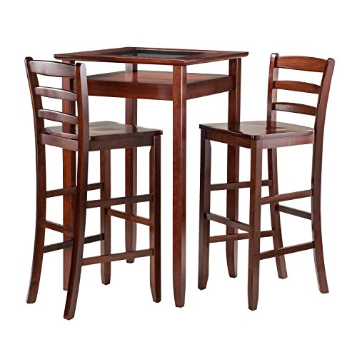 Winsome Wood Halo 3 Piece Pub Table Set with 2 Ladder Back Stools (Pub Tables Sets)
