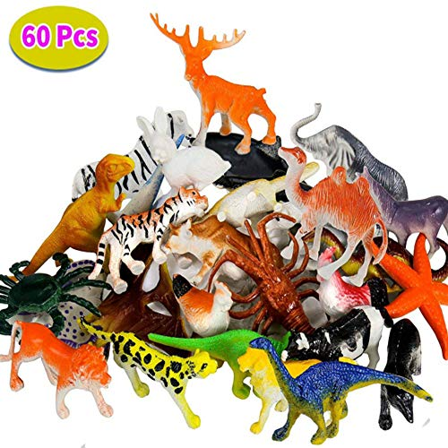 BBLIKE Jungle Animals Figures, 60 Piece Ocean Wild Animals Figure Toddler Toy Set, Dinosaur Sea Figures Vinyl Plastic Mini Realistic Under Animals Party Favors Party Bag Filler Best Gift Set