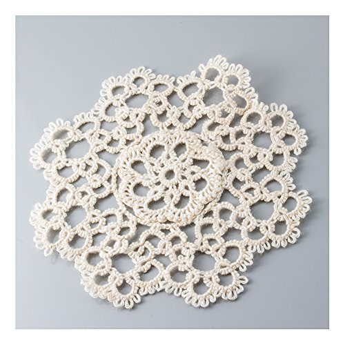 Handmade All-over Tatting Lace Crochet Doily. 100% Cotton Knitted. Ecru, 4 Inch Round. 12 Pieces (Handmade Tatting)