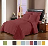 NC Home Fashions Cameo embroidered style solid color quilt set, Full/Queen, Marsala