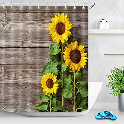 LB Country Style Shower Curtain Bright Yellow Flowers with Green Leaves on Rustic Wood Board Sunflower Bathroom Decor Set with 10 Hooks,60x72 Inch Waterproof Anti Mould -