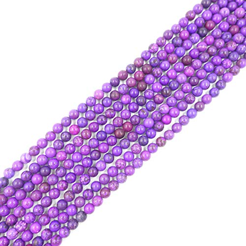 - 8mm Round Purple Turquoise Beads Loose Gemstone Beads for Jewelry Making Strand 15 Inch (47-50pcs)