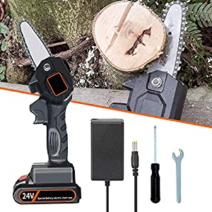Cordless Chainsaw Electric, Handheld Chainsaw with Battery Rechargeable, Mini Chainsaw Powerful 5m/s, Constant Cutting 1…