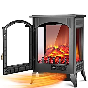 Image of Home and Kitchen Electric Fireplace Heater - 1500W / 750W Infrared Electric Fireplace Stove with 3D Flame Effect, Adjustable Flame Brightness, Overheat Protection, Large Size Room Electric Space Heater for Indoor Use