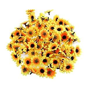 BinaryABC Artificial Sunflower Heads,Plastic Sunflower Heads,Artificial Daisy Flower Heads,100 Pcs 90