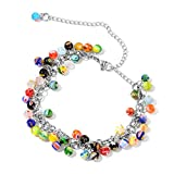 Multi Color Millefiori Glass Stainless Steel Anklet For Women Size 11''
