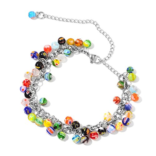 Multi Color Millefiori Glass Stainless Steel Anklet Ankle Bracelet for Women Size 11
