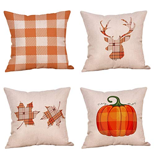 Steven.Smith 4 Pack Rustic Farmhouse Decorative Buffalo Check Plaid Throw Pillow Case Pumpkin Maple Leaf Fall Pillow Cushion Cover 18 x 18 inch Cotton Linen Autumn Home Decor