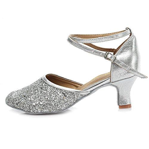 HROYL Zapatos de baile/Zapatos latinos de Leather mujeres EM5-18025 5CM Plateado
