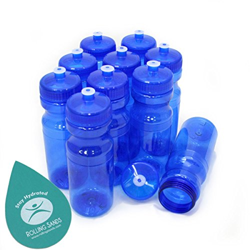 Rolling Sands BPA Free 24oz Drink Bottles Blue (10 Pk, Made in USA)