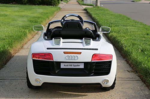 - First Drive Audi R8 White 12v Kids Cars - Dual Motor Electric Power Ride On Car with Remote, MP3, Aux Cord, Led Headlights, and Premium Wheels