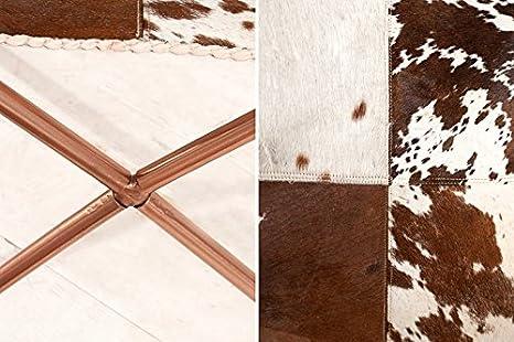 DuNord Design Sillón Silla Texas marrón Piel de Vaca Blanco ...