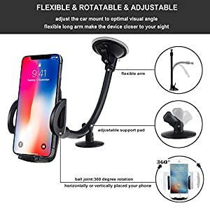 EXSHOW Car Mount,Universal Windshield Dashboard 12 inches Long Arm Car Phone Mount for iPhone X/8/7/6S/6 Plus/5S/5, Samsung Galaxy S6 S5, Nexus 5X/6P, LG, HTC and All Smartphones 3.5-6 inch(Black)