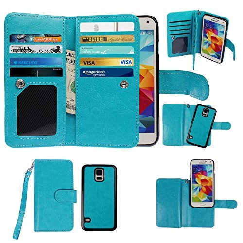 xhorizon TM Premium Leather Folio Book Style Multiple Card Slots Cash Compartment Pocket with Magnetic Closure Case Cover for Samsung Galaxy S5 - Blue