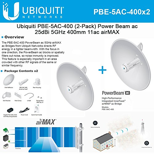 Ubiquiti PBE-5AC-400 2-PACK PowerBeam AC 25dBi 5ghz 400mm 11AC Airmax CPE/Bridge by Ubiquiti Networks