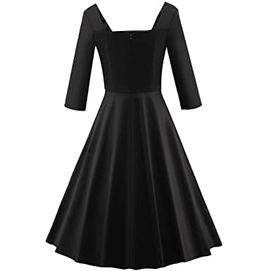 c2a55cdbb9 Shengdilu Women s 50s Long Sleeves Rockabilly Audrey Swing Skaters Party  Dresses