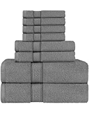 Utopia Towels Grey Towel Set, 2 Bath Towels, 2 Hand Towels, and 4 Washcloths, 600 GSM Ring Spun Cotton Highly Absorbent Towels for Bathroom, Shower Towel, (Pack of 8)