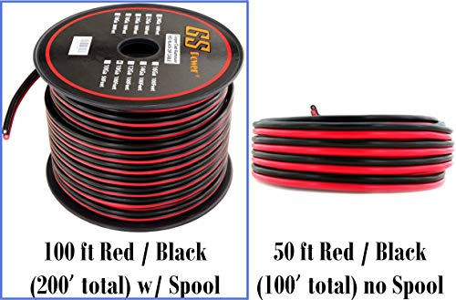 10 Gauge CCA Copper Clad Aluminum 100 ft Red Black Bonded Zip Cord Speaker Cable for 12Volt Automotive Amplifier Remote Trailer Harness Car Stereo LED Light Model Train Wiring