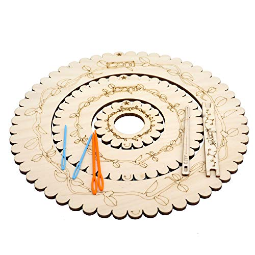CZYY Wooden Circular Looms Laser Carved with Vines Round Weaving Board 3 Pieces Set Include Yarn Needles - Easy Knitting Tool for Beginners & Experienced