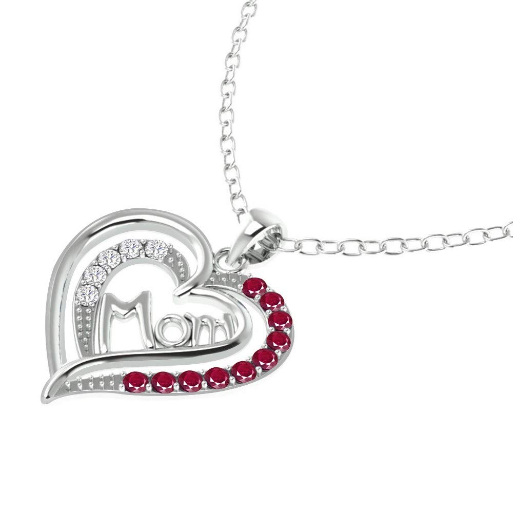 Nickel Free Beautiful and Stylish Birthday Gift for Mother and Wife Orchid Jewelry 0.98 Ct Red Round Ruby and White Topaz 925 Sterling Silver Pendant for Women